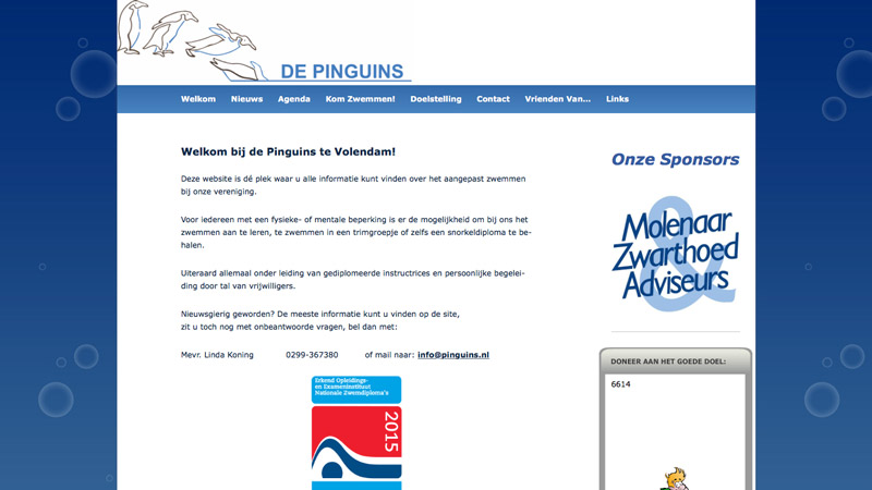 Screenshot Stichting De Pinguins